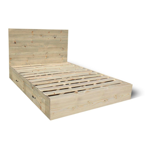 Platform Bed Frame With Drawers And Headboard Set Modern