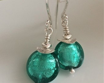 Green Venetian Glass Earrings    Murano Glass    Sterling Silver Earrings