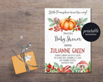 Fall Baby Shower Invitation Printable, Pumpkin Baby Shower Invitation, Autumn Baby Shower Invitation, Boy or Girl Baby Shower Invitation