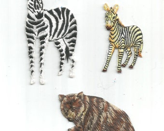 3 PC White and Black Zebra Brown Bear Wild Forest Woods Exotic Embroidered Iron on Patch Applique az4201623