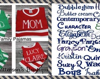 Personalized monogrammed Christmas pajamas, Family Christmas Pajamas, Family photo props, Christmas Pajamas
