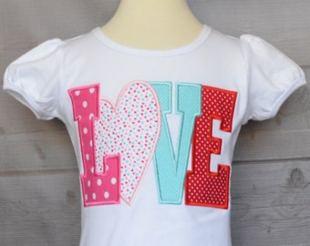 Personalized Valentine's Day LOVE Applique Shirt or Onesie Girl or Boy