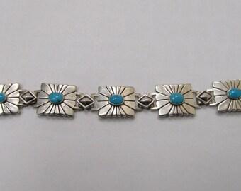 Vintage Sterling Silver American Indian Turquoise Bracelet Item W # 14
