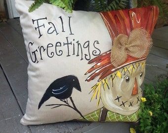 New! Fall Greetings Scarecrow, Pillow Cover, Fall Decorations, Thanksgiving, Holiday Decor, Hand-painted, Fall, Halloween, Holidays, No 104