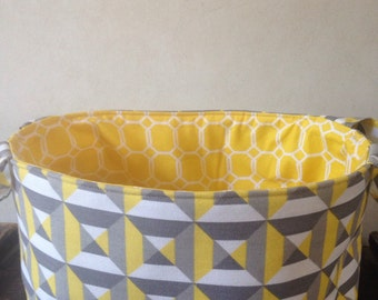 fabric basket in yellow and grey HGTV canvas fabric