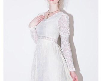 1960's Boho Lace Dress/Victorian Lace Wedding Dress/ 1960's Lace Dress/ Vintage Lace Dress// 1960's Bohemian Dress