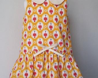 Girls dress, peter pan collar, cat, cat dress Kids clothing, uk