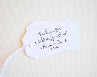 Thank You White Matte Small Label Tags - Custom Wedding Favor Tags, Hang Tags & Gift Tags