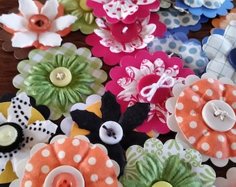 10 Paper Flower Embellishments; Handmade Mixed Media Flowers; Button Embellishments