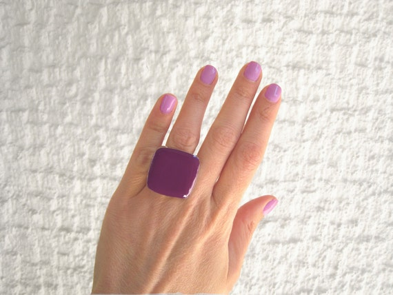 Purple ring, purple resin ring, amethyst glass ring, plum ring, big chunky square ring, modern minimalist, stainless steel