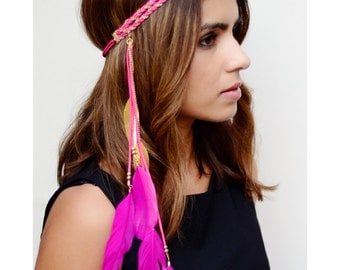 THE VIBIANA - Hot Pink Gold Tribal Side Feather Headband, Bohemian, Hipster Festival Feather Headdress, Native American Headdress Pocahontas