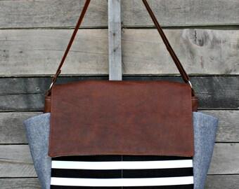 Black and White Stripe, Denim, Messenger Bag, Genuine Leather, Laptop Bag, Diaper Bag, Everyday Bag