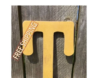 "Distressed wooden letter ""T"" Gungsuh font Free Shipping! perfect for home decor, wedding decorations, party decorations, and party favors."