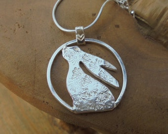 Moon gazing Hare, Personalised and in solid sterling silver, hand made UK