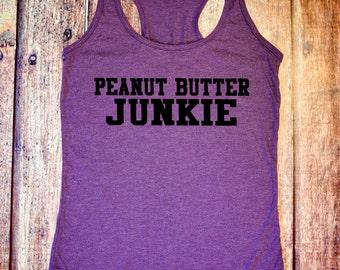 Gym Shirt - Peanut Butter Junkie - Purple Racerback Tank Top