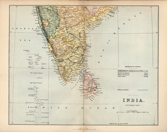 Large Gorgeous Map of INDIA SOUTHERN, 1890 atlas antique map, INDIA Map, Map of India Map Decor