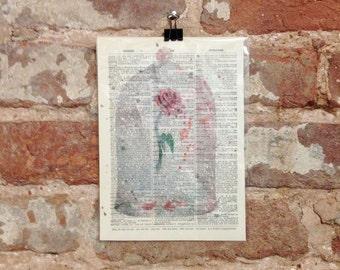 Fairytale Rose Dictionary Art Print Magical Fantasy Wall Art