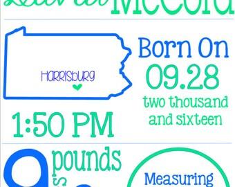 Nursery Print - Birth Stats Print - Printable Birth Stats - Personalized Birth Stats - Boy Baby