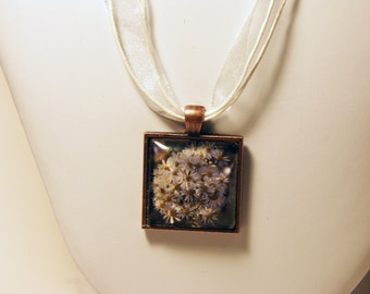 Glass Tile Flower Necklace - Free US Shipping!