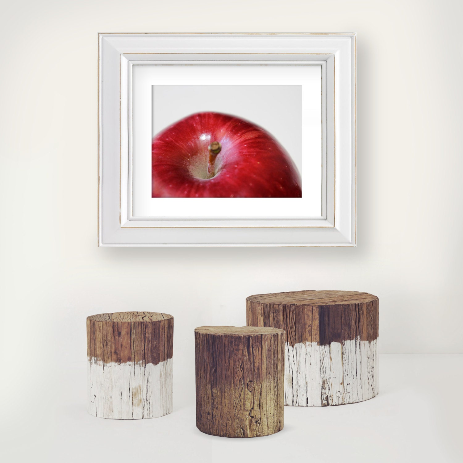 Wall Decor For Rustic Kitchen : Red apple photography wall art rustic kitchen decor