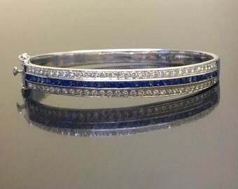 14K White Gold Sapphire Diamond Bracelet - 14K Gold Diamond Sapphire Bracelet - Blue Sapphire Diamond Bangle Bracelet - 14K Gold Bracelet