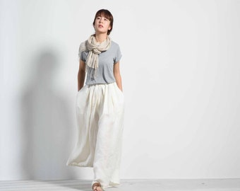 715---Cream White Linen Wide Leg Pants / Culotte, Gaucho Pants, Yoga Pants, Skirt Pants, Pants Skirt, Skants.