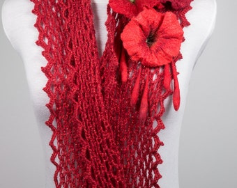 """Infinity scarf crochet-Double loop circle scarf crochet-hand-felted flowers-red-""""Espelette pepper"""""""