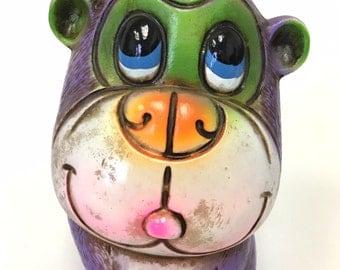 Vintage Paper Mache Money Bank, Purple Monkey, 1960s Made in Japan, Piggy Bank Purple, Piggy Bank Vintage, Coin Bank, Paper Mache Animals