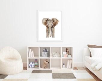 Baby Elephant, Elephant Art, Elephant Wall Art, Safari Nursery, Kids Wall Art, Safari Room Decor, Elephant Nursery, Large Print