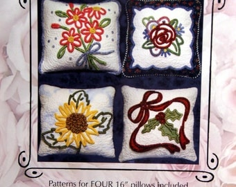 Seasonal Pillows Touch Of Chenille Series By Cheryl Rose Creations Uncut Chenille Color Stitck Quilted Pillow Pattern Packet 2002