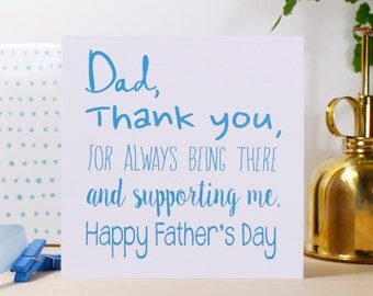 Father's Day Card - Thank You Dad Card - Fathers Day Card - Typography Father's Day Card - Personalised Card for Dad -  Father's Day Card