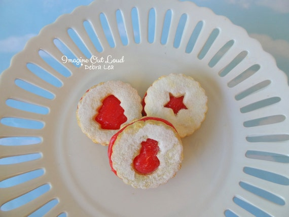 Fake Cookies Christmas Holiday Strawberry Cherry Sandwich Linzer Tart Set of 3