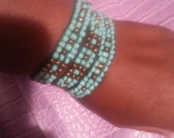 Turquoise beaded triple bracelet/necklace/choker