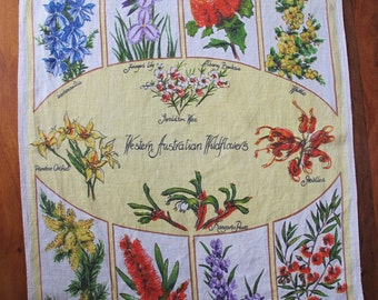 Vintage Western Australian wildflowers tea towel, handprinted linen