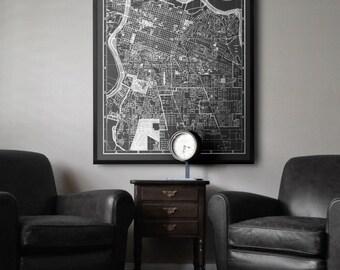 Sacramento Map: Black and white vintage Sacramento map print 1950s