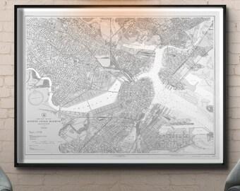 Boston Harbor Map Print : Vintage 20th C. Nautical Survey Map - Boston Harbor map wall art print poster