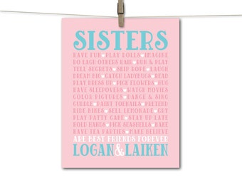 Kids canvas 'big sister little sister' name art print in pink and aqua for girls bedroom, playroom or nursery wall art