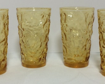 Set of 4 Anchor Hocking Amber Milano Lido Juice Glasses Vintage 1970s