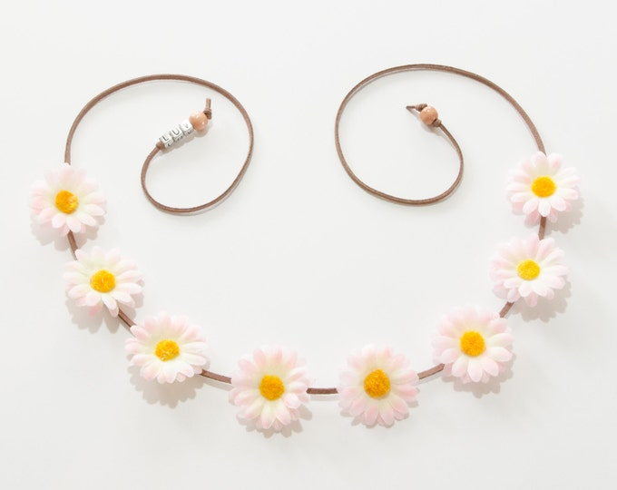 Pink White Daisy Flower Crown