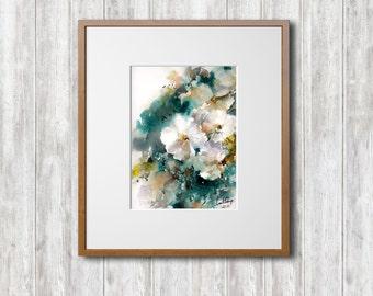 Original Watercolor Painting, Jasmine Painting, White Flowers Painting, Watercolour Art