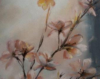 ORIGINAL Pastels Painting, Flowers Painting, Pastel Art, Blooming Bruch Painting