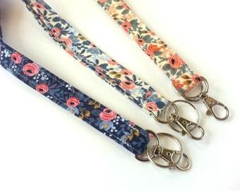 Stocking Stuffer, Girly Lanyard, Floral Lanyard, Cute ID Holder, Girl Lanyard, Boho Gift, Floral Fabric