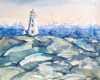 Nova Scotia Lighthouse Painting - Peggy's Cove Watercolor Painting - Original Watercolor Seascape Peggy's Cove Lighthouse