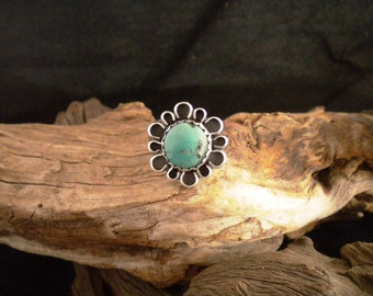 Size 10.5 Ring Natural Turquoise & Sterling Silver Signed Piece Handmade