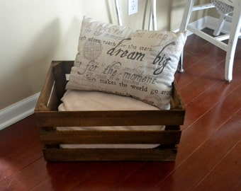 Rustic Stained Wood Crate, Crate Shelving, Storage, Wedding Crate, Engagement, Baby Shower