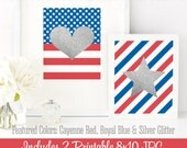 Silver Glitter Heart & Star Prints - American Flag Printable Memorial Day 4th of July Patriotic July 4th Birthday Decorations Red White Blue