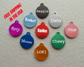 Engraved EXTRA SMALL Round with Tab Dog or Cat Pet ID Tag - Tiny Dog Tag -Tiny Cat Tag - Small Puppy Tag - Kitten Tag