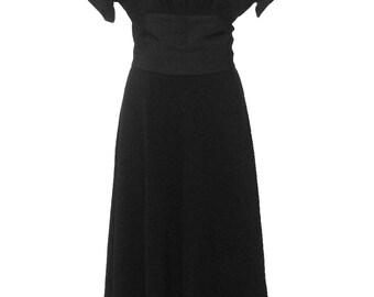 Nettie Rosenstein VTG 1940's Black Crepe Evening Dress with Bow Back M/L