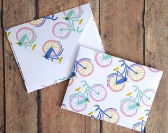 Bicycle Mini Envelopes, Bike Note Cards, Enclosure Cards, Blank Cards, Gift Enclosures, Small Stationery, Patterned Envelopes, Set of 4