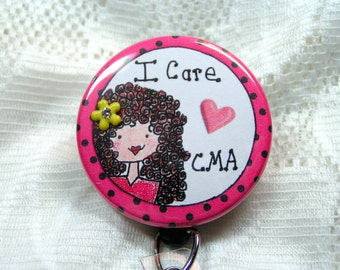 pink and black polka dots on retractable id badge holder for medical assistant-terrific gift for CMA/MA/CNA-pink id badge reel